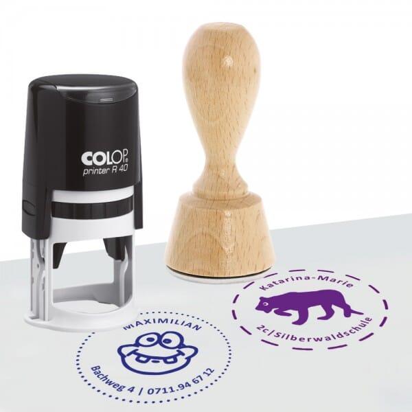 Schülerstempel Holzstempel / Selbstfärber Colop R 40 (Ø 40 mm - 2 Zeilen)