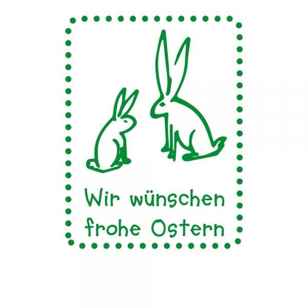 Ostern Holzstempel - zwei Hasen (40x30 mm)