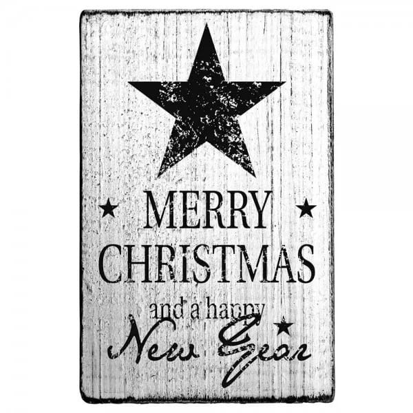 "Vintage Stempel ""Merry Christmas and a happy new year"""