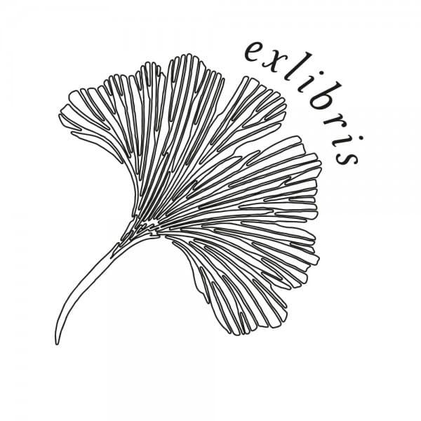 Exlibris Holzstempel - Ginkgo (50x50 mm)