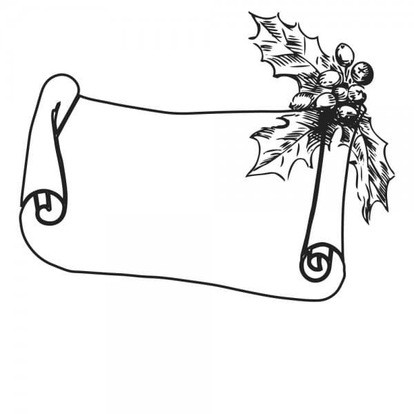 Weihnachten Holzstempel - Schriftrolle (40x30 mm)