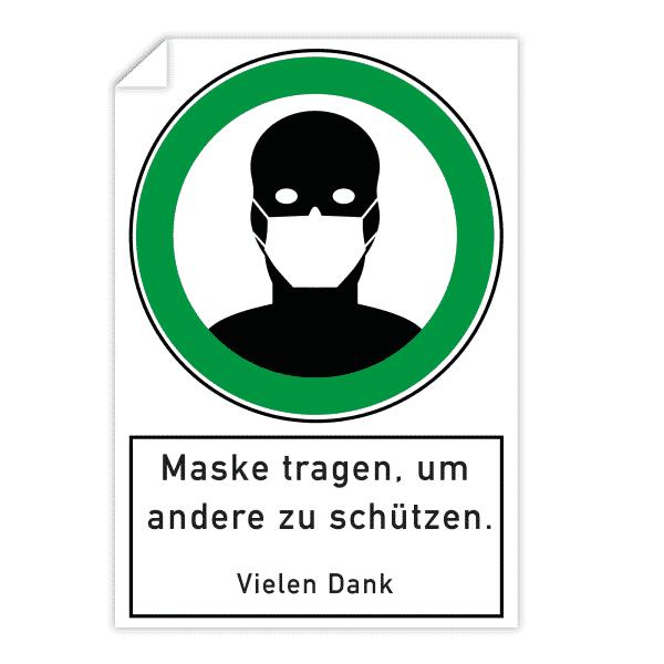 3 Stück Aufkleber - Maske tragen, um andere zu schützen (200x300 mm)