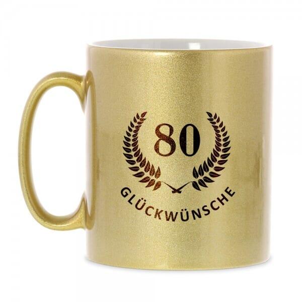 """Keramiktasse zum 80. Geburtstag """"Glückwünsche"""""""