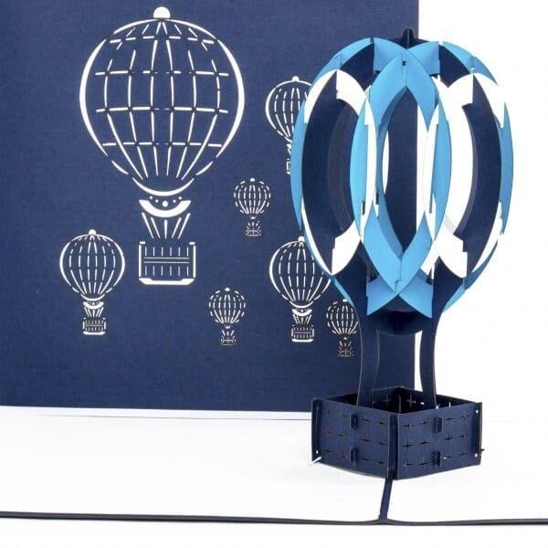 Colognecards Pop-Up Karte Heissluftballon blau & weiss