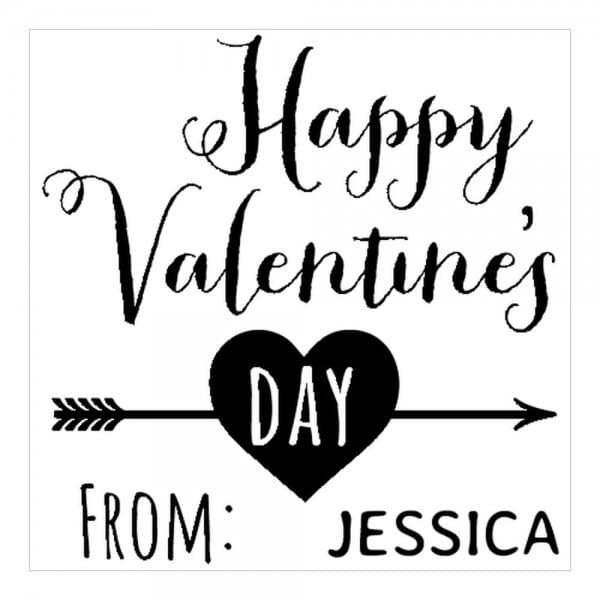 Monogrammstempel quadratisch - Glücklicher Valentinstag !