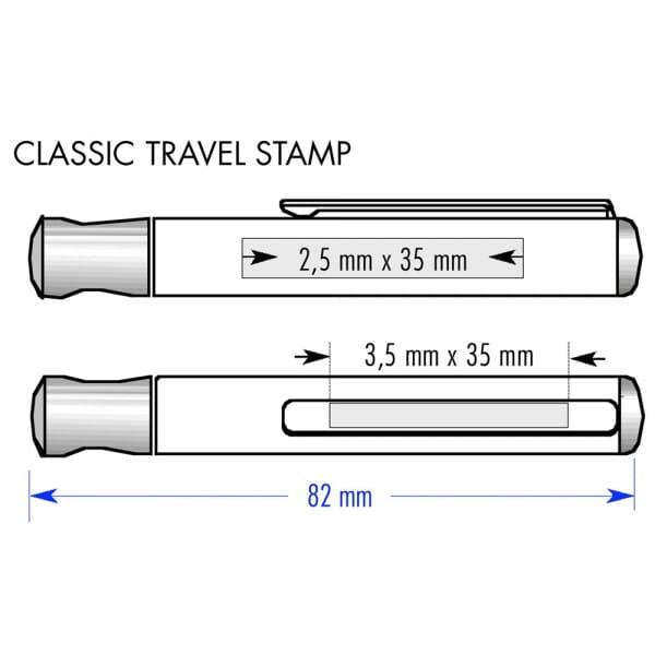 Heri Classic Travel Stamp 2100 Taschenstempel Silber (33x8 mm - 3 Zeilen)