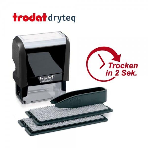 Trodat dryteq Multi-Oberflächen Textstempel 4912 TYPO (47x18 mm - 1 Ersatzkissen)