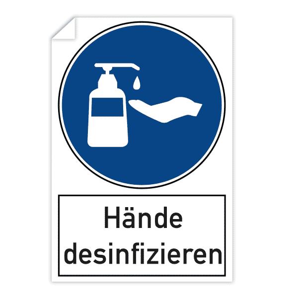 3 Stück Aufkleber - Hände desinfizieren (200x300 mm)