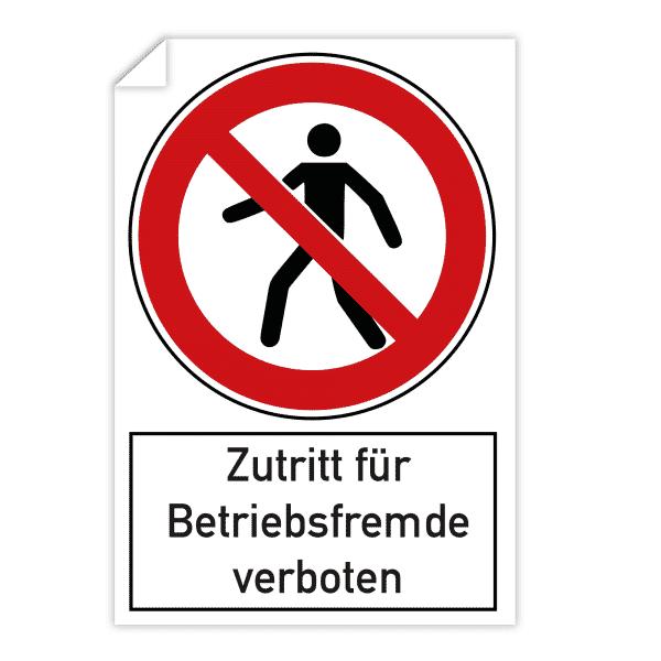 3 Stück Aufkleber - Zutritt für Betriebsfremde verboten (200x300 mm)