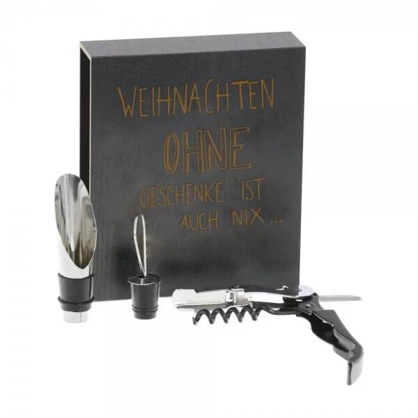 """Lasergravierte Holzbox mit 3-teiligem Weinset """"Ohne Geschenke"""""""