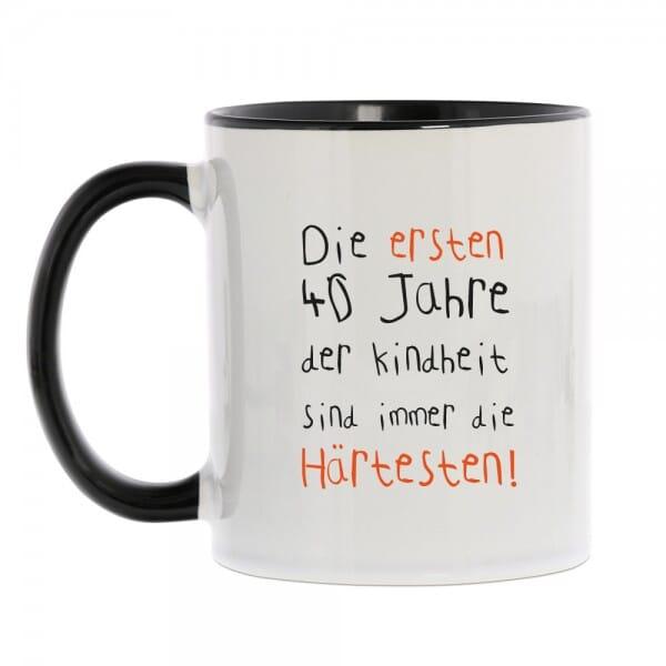 """Keramiktasse zum 40. Geburtstag """"Die ersten 40 Jahre"""""""