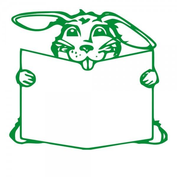 Ostern Holzstempel - Hase mit Buch (50x50 mm)
