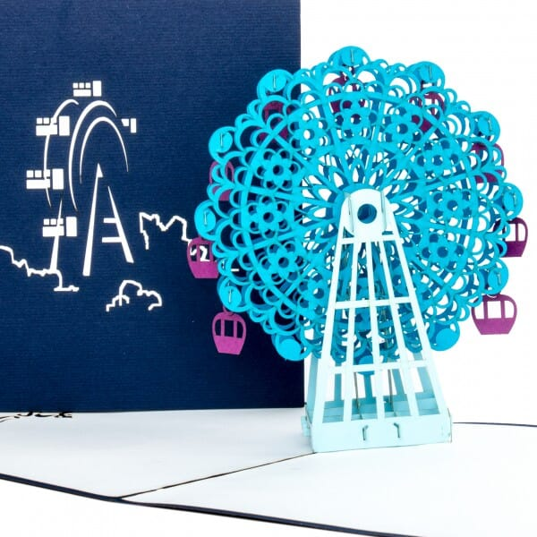 Colognecards Pop-Up Karte Riesenrad blau