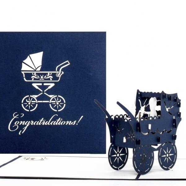 Colognecards Pop-Up Karte Kinderwagen Congrat. blau