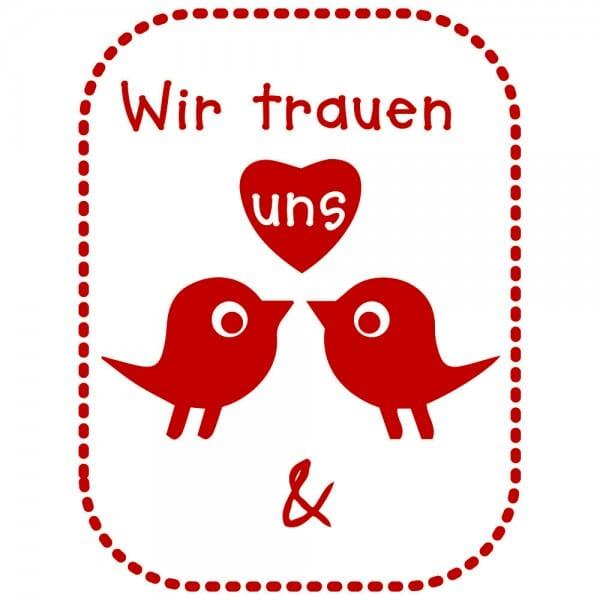 Liebe Holzstempel - Wir trauen uns (40x30 mm)