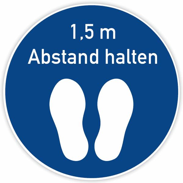 Fußbodenaufkleber Blau - Abstand halten (400x400 mm)