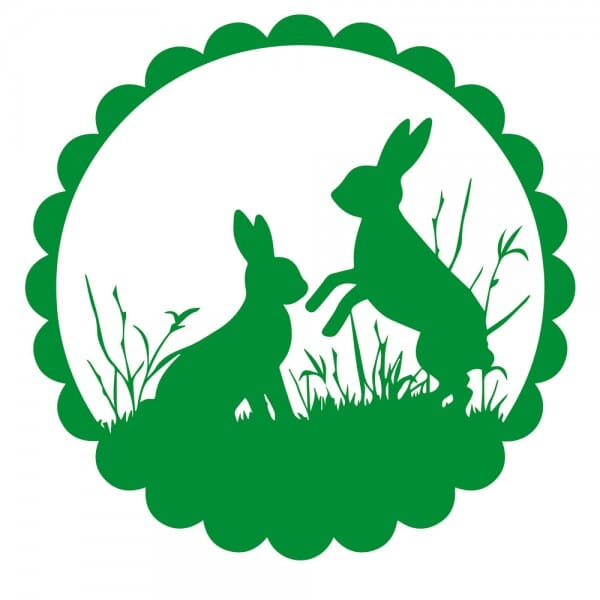 Ostern Holzstempel - zwei Hasen (50x50 mm)