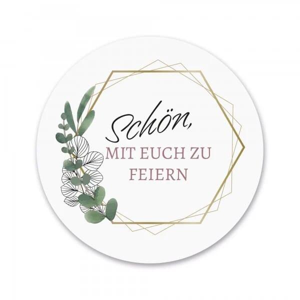"""Bierdeckel 40 Stück Hochzeit """"Schön, mit euch zu feiern!"""" bedruckt (Eukalyptus -ø 90 mm)"""
