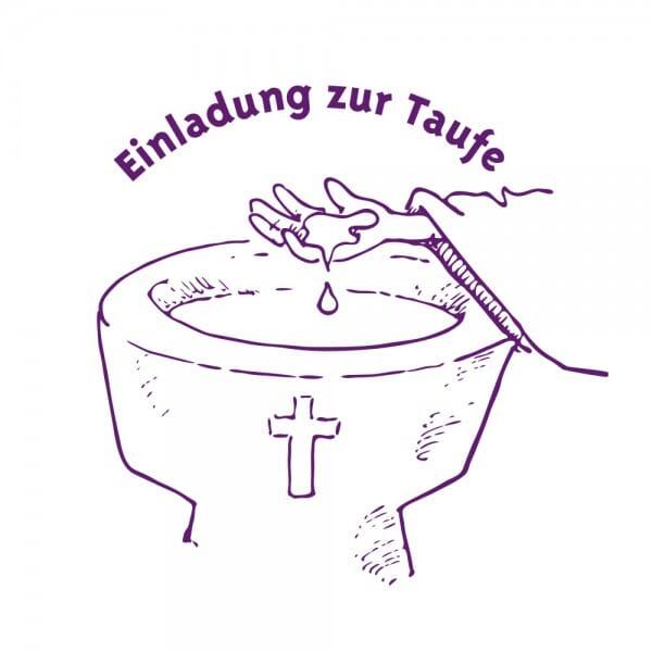 Geburt-Taufe und Kirche Holzstempel - Einladung zur Taufe 2 (Ø 40 mm)