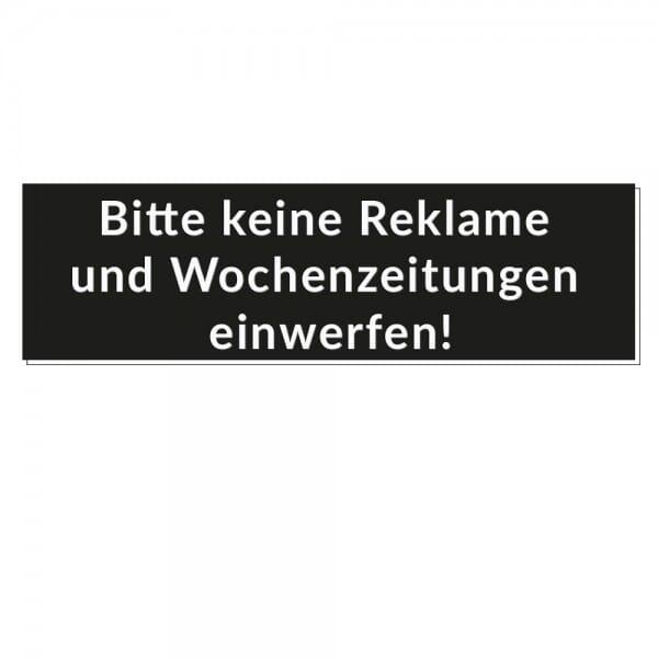 """Kunststoffschild """"Bitte keine Reklame und Wochenzeitungen einwerfen!"""" (70x20 mm)"""