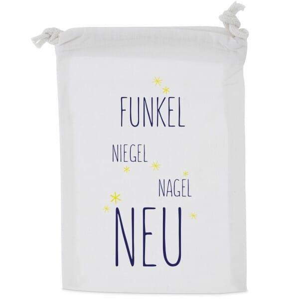 "Baumwoll-Zuziehbeutel-Stoffbeutel ""Funkel-Niegel-Nagel-Neu"""