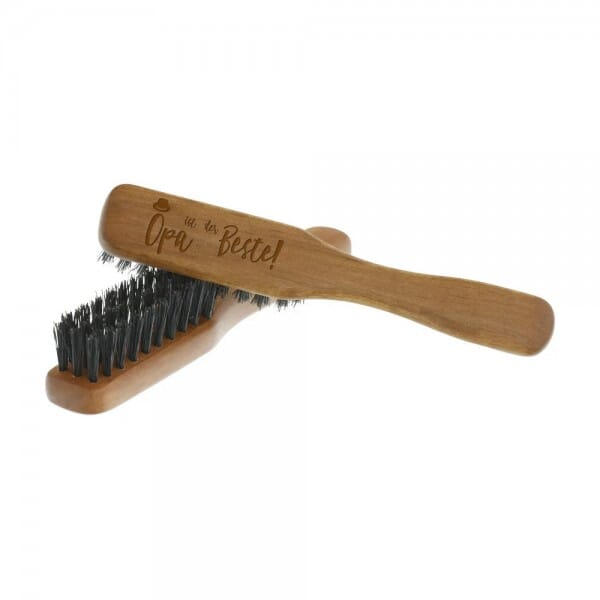 """Bartbürste länglich aus Birnbaumholz """"Opa ist der Beste"""""""