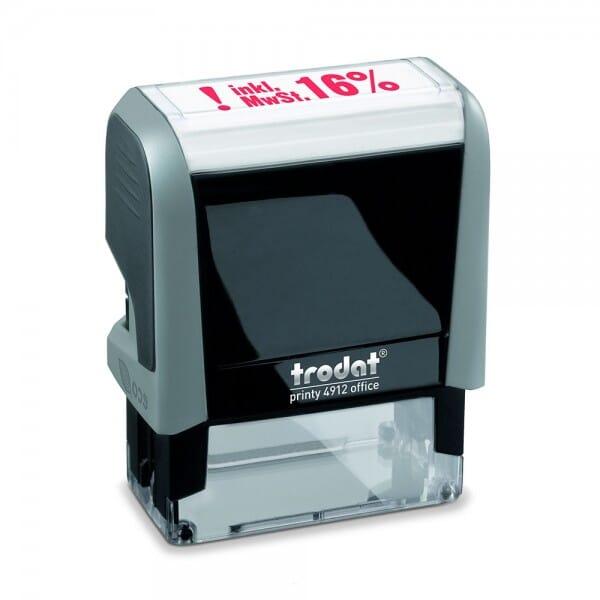 "Trodat Office Printy Textstempel ""inkl. 16% MwSt."" 4912 (47x18 mm)"