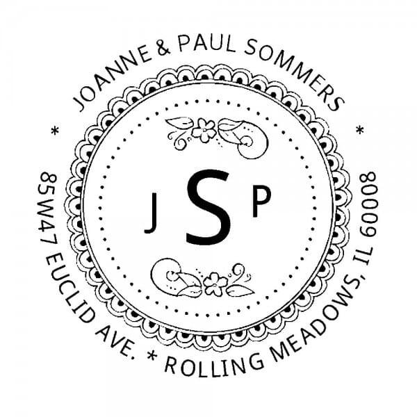 Monogrammstempel rund - Abdruck mit Initialen