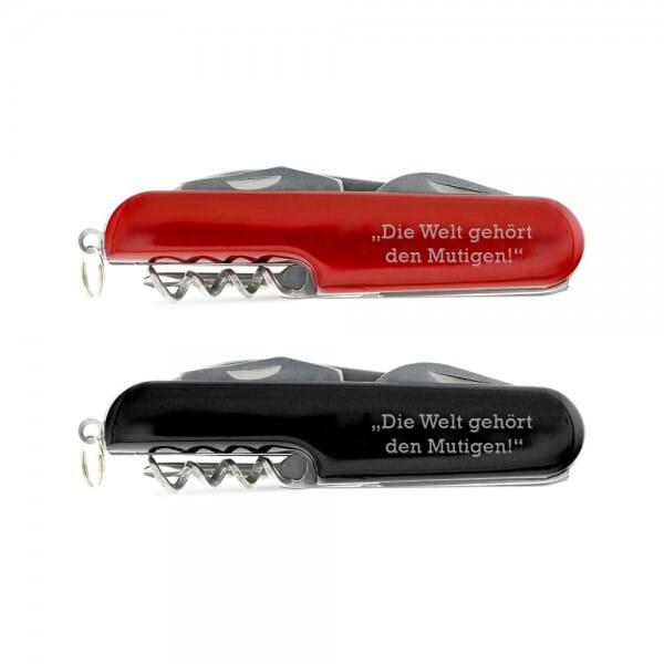 """Taschenmesser """"Die Welt gehört den Mutigen!"""" (Gravurmaß 40x12 mm)"""