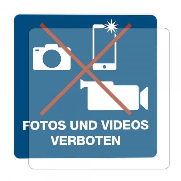 3 Stück Hinweis-Hinterglasaufkleber - Fotos und Videos verboten (150x150 mm)