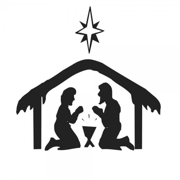 Weihnachten Holzstempel - Krippe (40x30 mm)