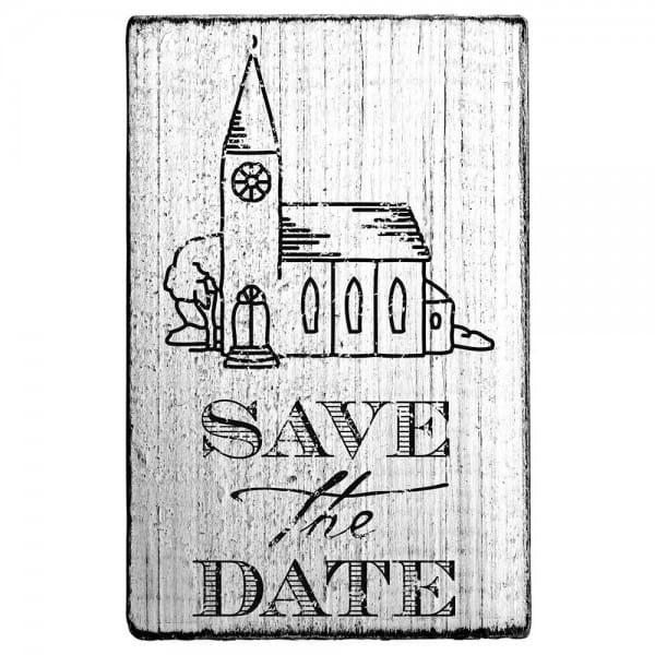 "Vintage Stempel ""Save the date"" Kirche"