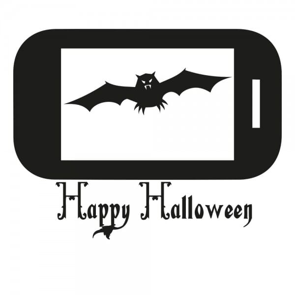 Halloween Holzstempel - Handy Fledermaus 1 (40x30 mm)