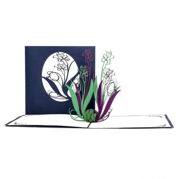 Colognecards Pop-Up Karte Lilien blau