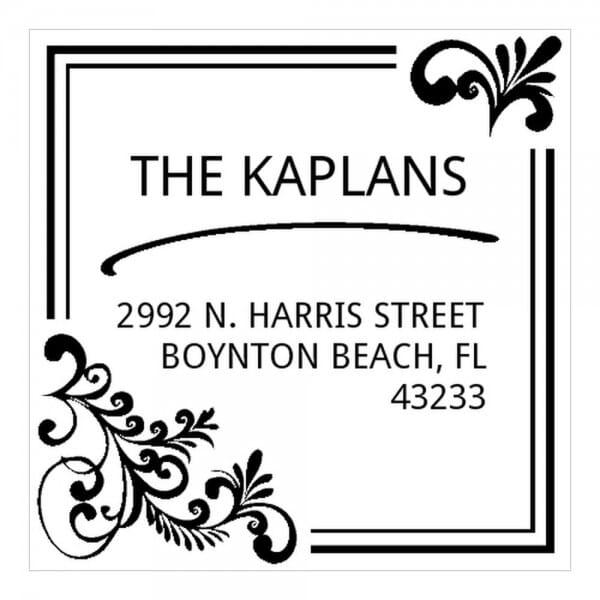 Monogrammstempel quadratisch - Adresse mit elegantem Design