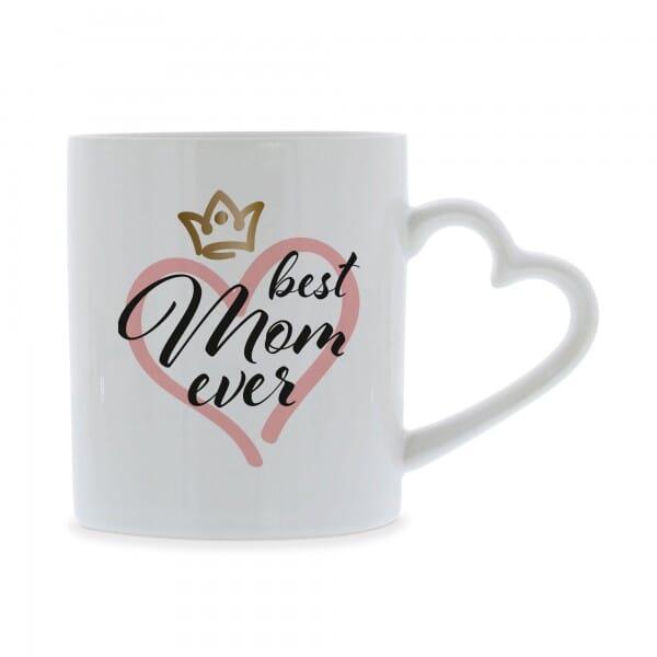 """Keramiktasse mit Herzhenkel """"best Mom ever"""""""