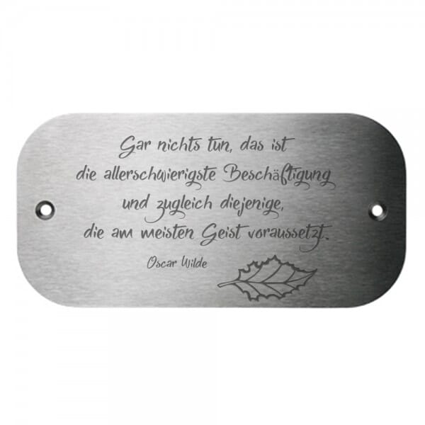 Bankschild aus Edelstahl runde Ecken (Gravurmaß 120x70 mm - 9 Zeilen)
