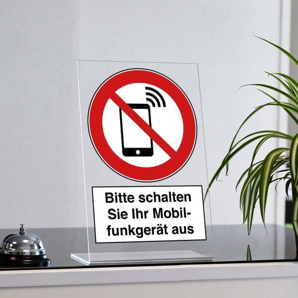 """Acrylaufsteller """"Bitte schalten Sie Ihr Mobilfunkgerät aus"""" (ca. 200x300 mm)"""