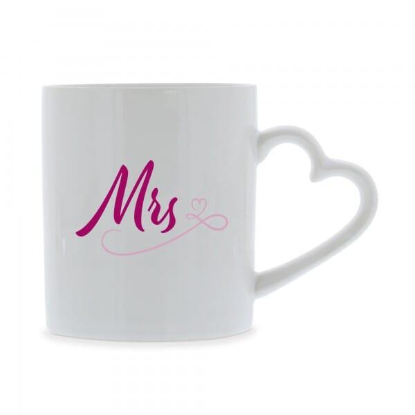 """Keramiktassen mit Herzhenkel (2 Stück) """"Mr. & Mrs."""""""