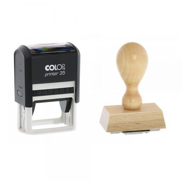 Apothekenstempel Holzstempel / Colop Printer 35 (50x30 mm - 6 Zei bei Stempel-Fabrik