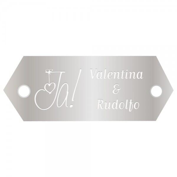Hochzeitsschild aus Aluminium (Gravurmaß 45x18 mm - 2 Zeilen)