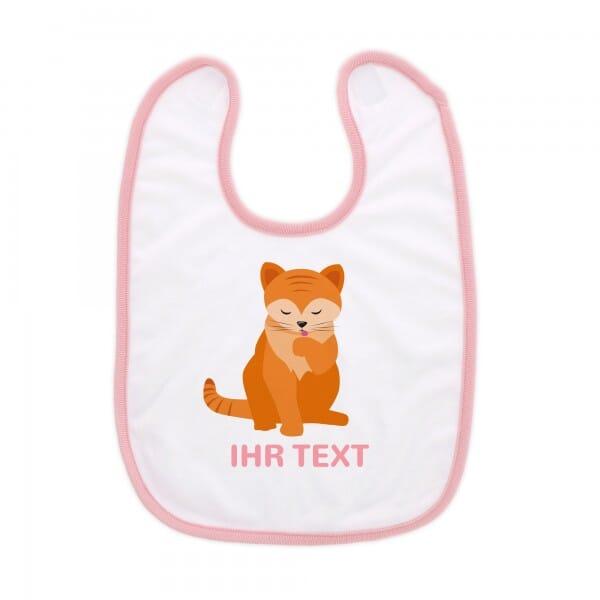 """Babylätzchen mit Klettverschluss """"Katze"""" inkl. individueller Druck"""