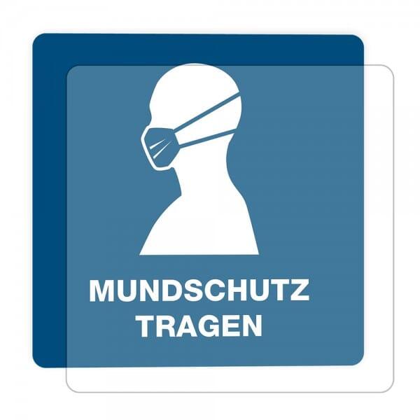 3 Stück Hinweis-Hinterglasaufkleber- Mundschutz tragen (150x150 mm)