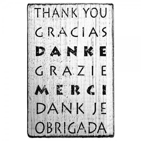 "Vintage Stempel ""Thank you, Merci, Gracias, Grazie"""
