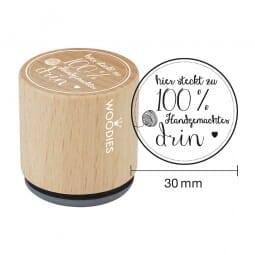 Woodies Stempel - Hier steckt zu 100% Hand - Wolle