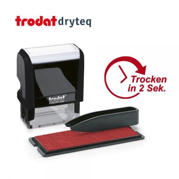 Trodat dryteq Multi-Oberflächen Textstempel 4911 TYPO (37x14 mm - 2 Ersatzkissen)