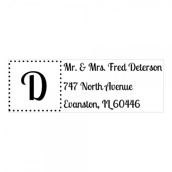 Monogrammstempel rechteckig - Adresse mit gerahmten Initialen