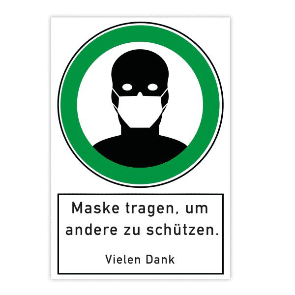 Warnschild - Maske tragen, um andere zu schützen (200x300x4 mm)