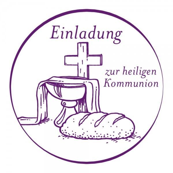 Geburt-Taufe und Kirche Holzstempel - Einladung zur Kommunion (Ø 40 mm)