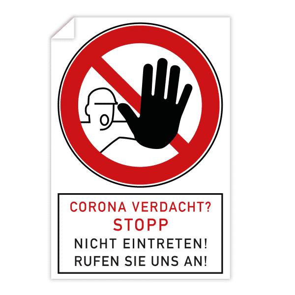 3 Stück Aufkleber - Corona Verdacht? Stopp (200x300 mm)
